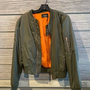 NWT army green bomber jacket/ gold accents